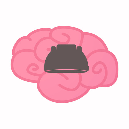 Illustration of an isolated brain with a work helmet