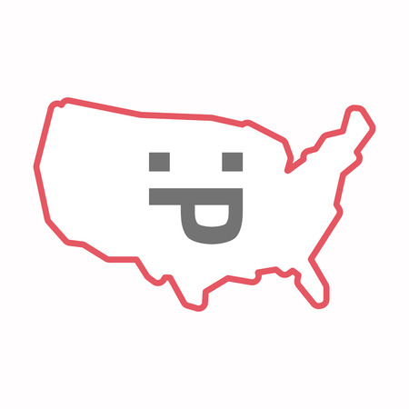 Illustration of an isolated line art map of USA with a sticking out tongue text face Illustration