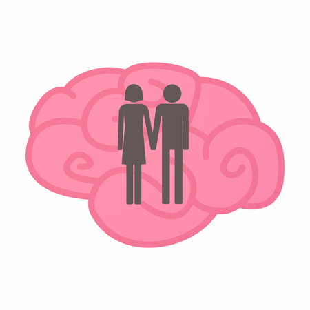 heterosexual couple: Illustration of an isolated brain with a heterosexual couple pictogram
