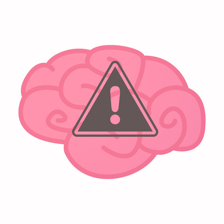 think safety: Illustration of an isolated brain with a warning signal