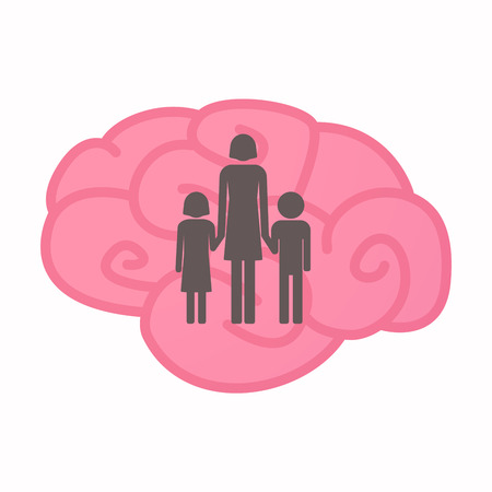 Illustration of an isolated brain with a female single parent family pictogram