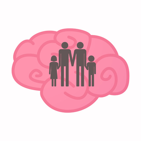 Illustration of an isolated brain with a gay parents  family pictogram