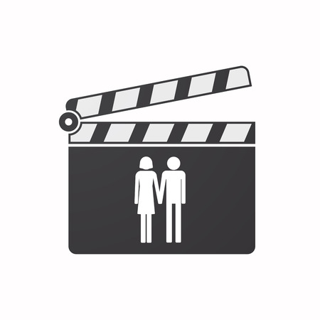 heterosexual couple: Illustration of an isolated clapper board with a heterosexual couple pictogram Illustration
