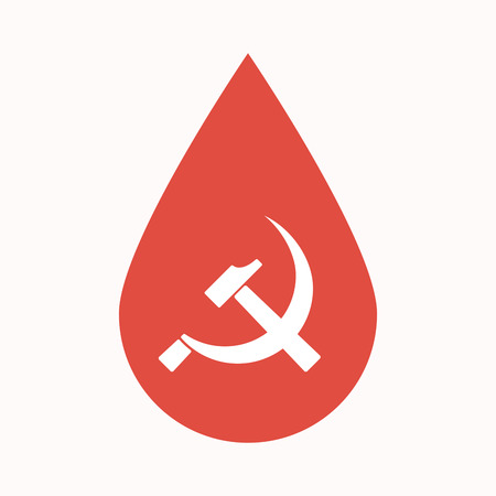 Illustration of an isolated blood drop sign with  the communist symbol