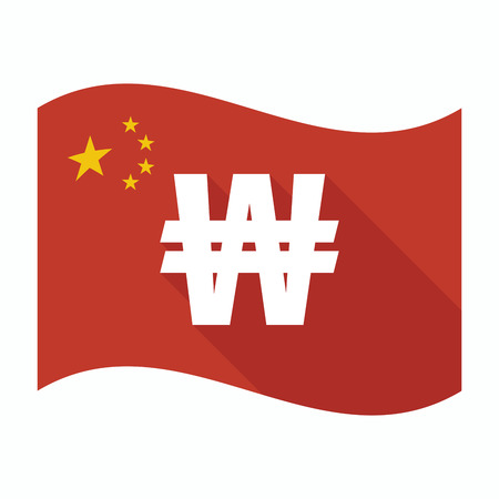 won: Illustration of an isolated China waving flag with a won currency sign Illustration
