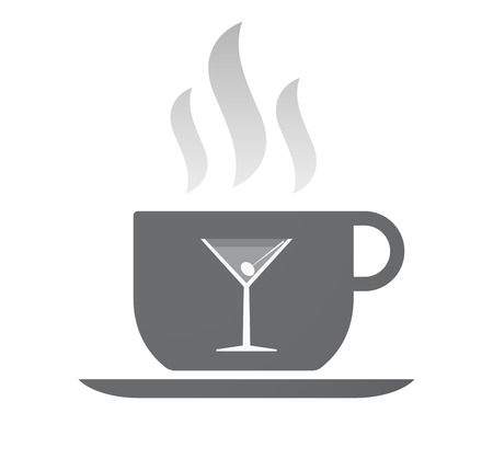 vermouth: Illustration of an isolated coffee cup with a cocktail glass
