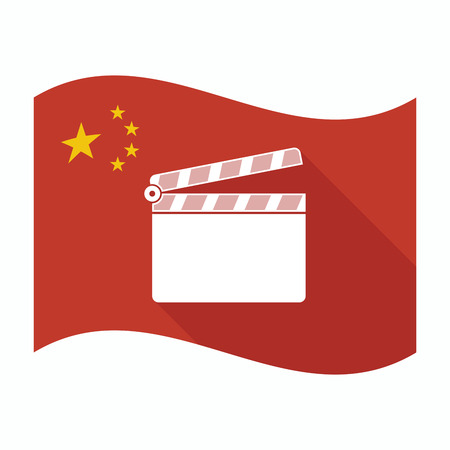 Illustration of an isolated China waving flag with a clapperboard
