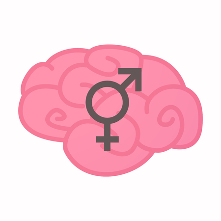 Illustration of an isolated brain with a bigender symbol