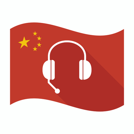 hands free phone: Illustration of an isolated China waving flag with  a hands free phone device