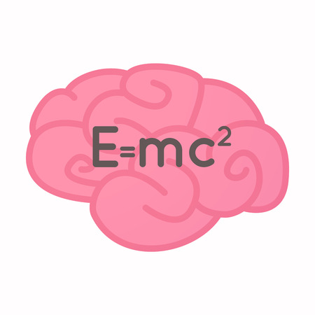 Illustration of an isolated brain with the Theory of Relativity formula Illustration