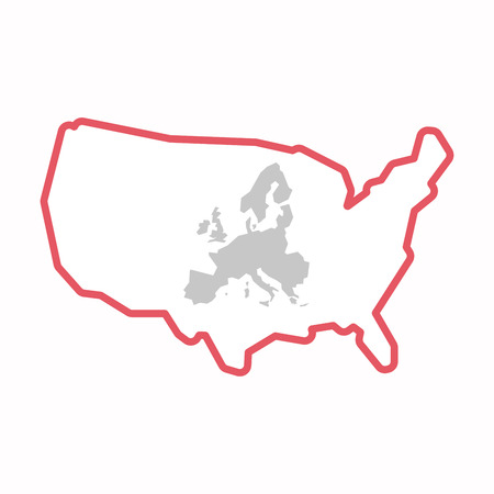 Illustration of an isolated line art map of USA with  a map of Europe