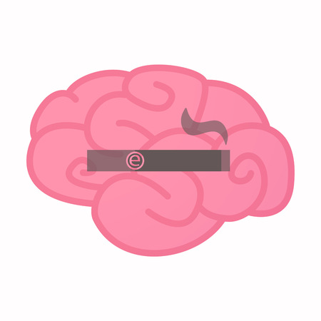 Illustration of an isolated brain with an electronic cigarette Illustration