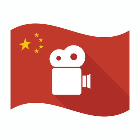 official record: Illustration of an isolated China waving flag with a film camera Illustration