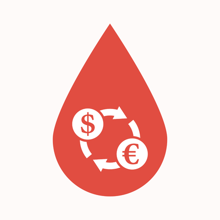 Illustration of an isolated blood drop sign with a dollar euro exchange sign