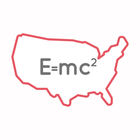 Illustration of an isolated line art map of USA with the Theory of Relativity formula Illustration