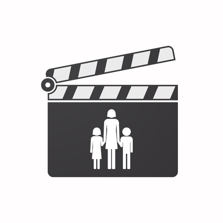 single parent family: Illustration of an isolated clapper board with a female single parent family pictogram