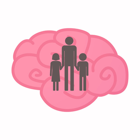 Illustration of an isolated brain with a male single parent family pictogram