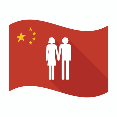 heterosexual couple: Illustration of an isolated China waving flag with a heterosexual couple pictogram