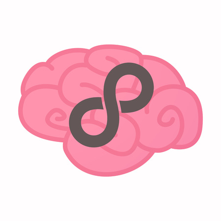 Illustration of an isolated brain with an infinite sign