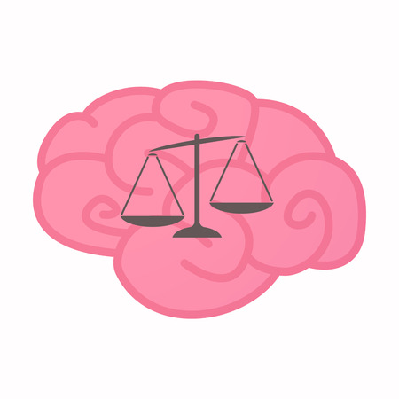 Illustration of an isolated brain with  an unbalanced weight scale Illustration