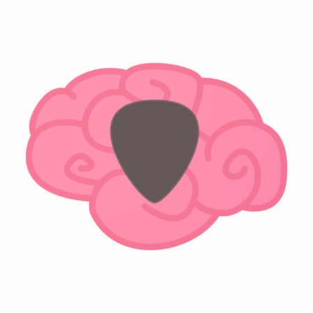 solo: Illustration of an isolated brain with a plectrum