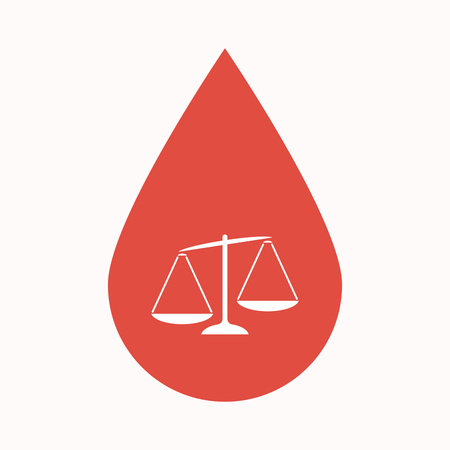 Illustration of an isolated blood drop sign with  an unbalanced weight scale Illustration