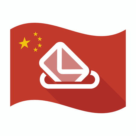 official ballot: Illustration of an isolated China waving flag with  a ballot box Illustration