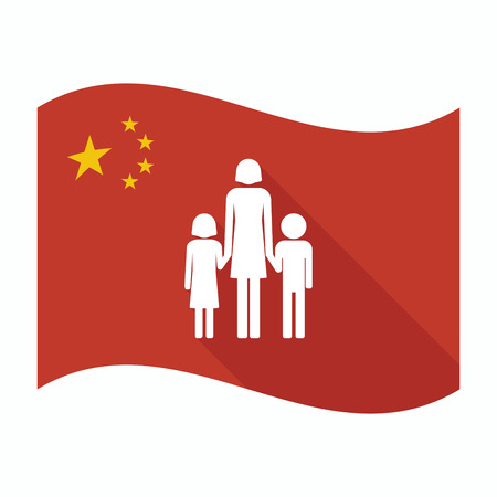 single parent family: Illustration of an isolated China waving flag with a female single parent family pictogram