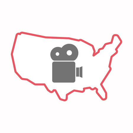 Illustration of an isolated line art map of USA with a film camera Illustration
