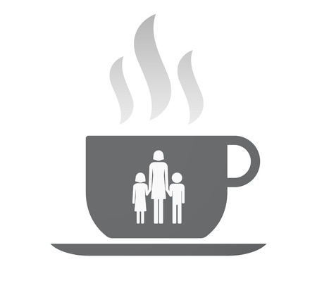 single parent family: Illustration of an isolated coffee cup with a female single parent family pictogram