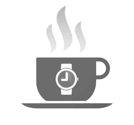 wrist: Illustration of an isolated coffee cup with a wrist watch