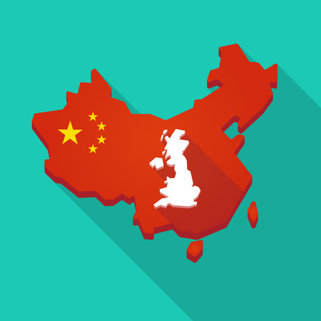 Illustration of a long shadow China map with  a map of the UK