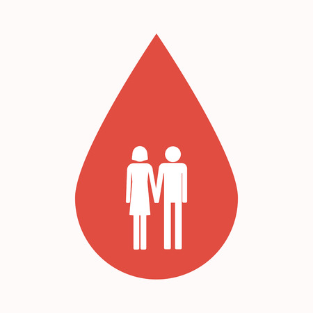 heterosexual couple: Illustration of an isolated blood drop sign with a heterosexual couple pictogram Illustration