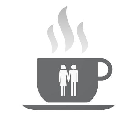 heterosexual couple: Illustration of an isolated coffee cup with a heterosexual couple pictogram