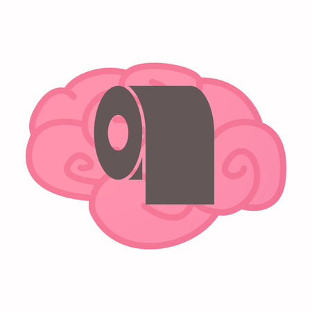 Illustration of an isolated brain with a toilet paper roll Illustration