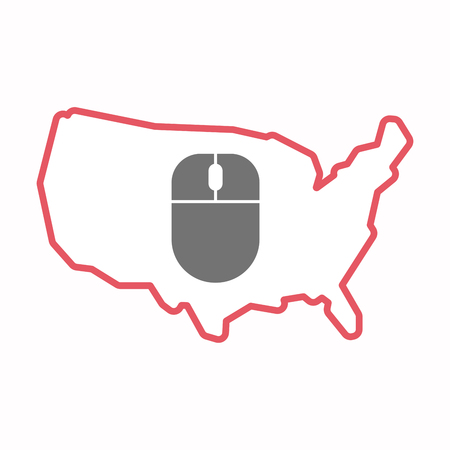 Illustration of an isolated line art map of USA with a wireless mouse