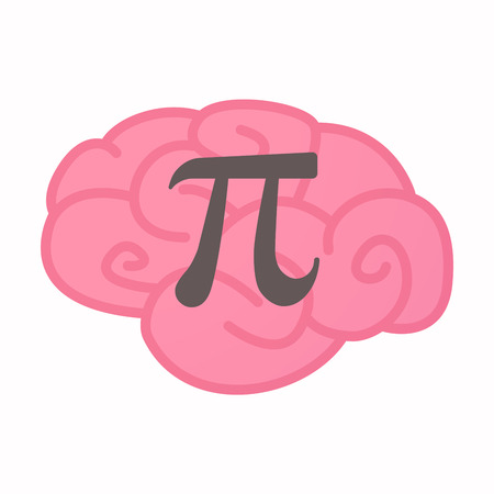 constant: Illustration of an isolated brain with the number pi symbol
