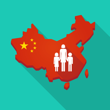 Illustration of a long shadow China map with a female single parent family pictogram Illustration