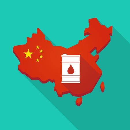 oil drum: Illustration of a long shadow China map with a barrel of oil Illustration
