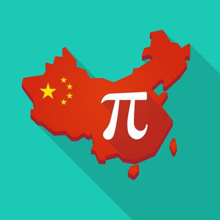 equation: Illustration of a long shadow China map with the number pi symbol