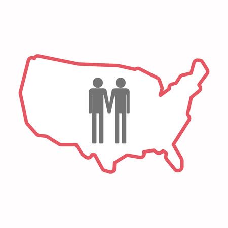 gay men: Illustration of an isolated line art map of USA with a gay couple pictogram
