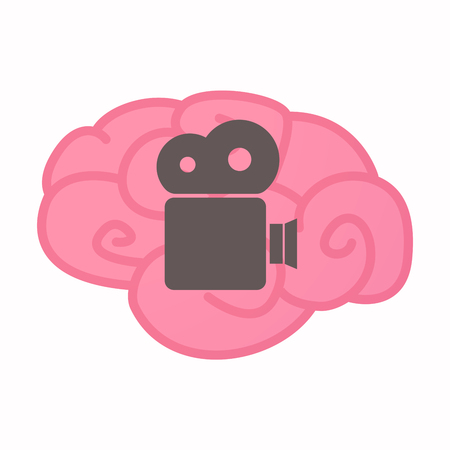 Illustration of an isolated brain with a film camera
