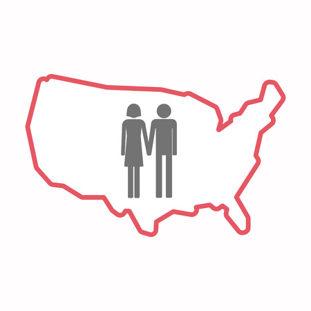 heterosexual couple: Illustration of an isolated line art map of USA with a heterosexual couple pictogram