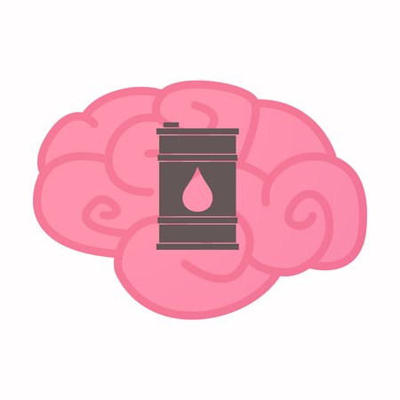 oil drum: Illustration of an isolated brain with a barrel of oil