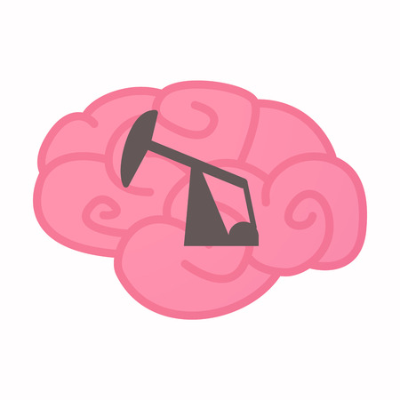 Illustration of an isolated brain with a horsehead pump Illustration