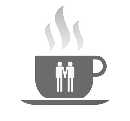 Illustration of an isolated coffee cup with a gay couple pictogram