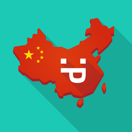 Illustration of a long shadow China map with a sticking out tongue text face