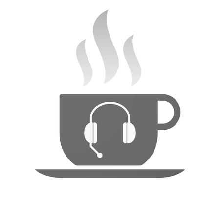 hands free phone: Illustration of an isolated coffee cup with  a hands free phone device Illustration