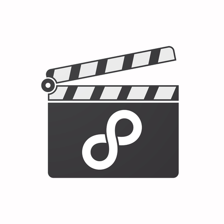mobius symbol: Illustration of an isolated clapper board with an infinite sign