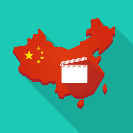 Illustration of a long shadow China map with a clapperboard Illustration